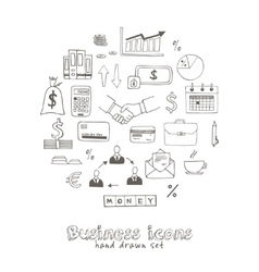Set of doodle sketch business icons vector image vector image