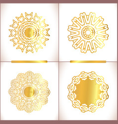 Set of gold mandalas vector