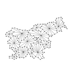 slovenia map of polygonal mosaic lines network vector image