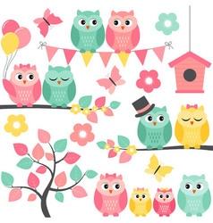 Summer Owls vector image vector image
