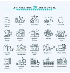 Thin Lines Web Icons Set of Marketing vector image vector image
