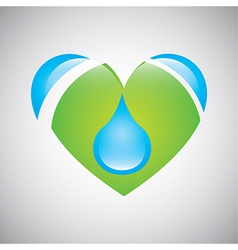 Water heart vector image