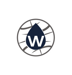 Water oil world letter w vector