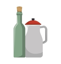 Wine bottle with teapot kitchen tool isolated icon vector