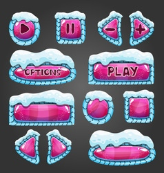 Winter cartoon dark pink buttons with snow vector