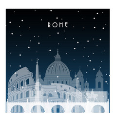 winter night in rome night city in flat style vector image