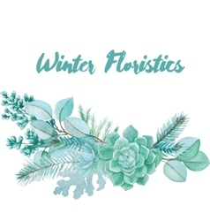 Winter watercolor floristic composition vector