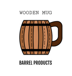 wooden mug for beer drinks color flat icon vector image