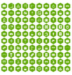 100 railway icons hexagon green vector