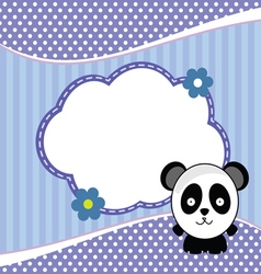 Banner for children with panda animal in blue vector