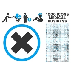 Delete x-cross icon with 1000 medical business vector