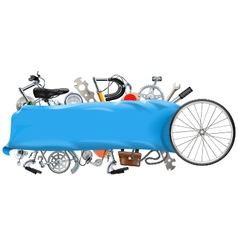 Banner with bicycle spares vector