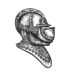 Knight helmet sketch vector