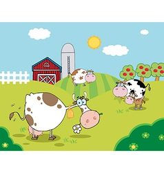 Pasture of grazing dairy cows vector
