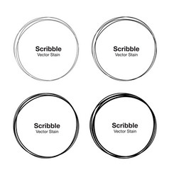 set of hand drawn scribble circles vector image