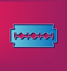 Razor blade sign blue 3d printed icon on vector