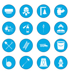 Firefighter icon blue vector