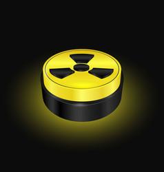 radiation symbol button yellow warning sign vector image