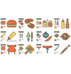 Barbecue line icon set vector