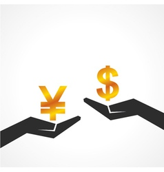 Hand hold dollar and yen symbol to compare vector