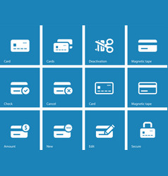 Credit card icons on blue background vector image