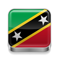 Metal icon of saint kitts and nevis vector