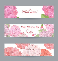 Collection of beautiful romantic banners pink vector
