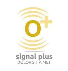 Logo signal letter o plus yellow alphabet wireless vector