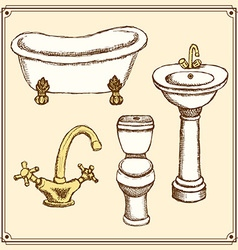 Sketch bathroom equipment in vintage style vector