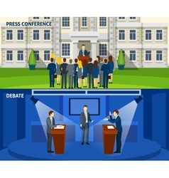Politics two flat banners set vector