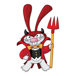 Cute devil rabbit vector
