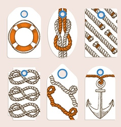 Marine tags in vintage style vector