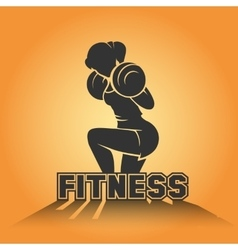 Fitness club emblem with training athletic woman vector