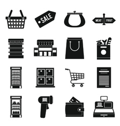 Supermarket icons set simple ctyle vector
