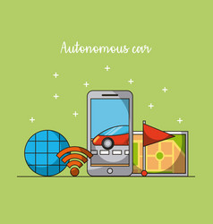 Autonomous car mobile phone app gps navigation vector