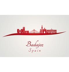 Badajoz skyline in red vector image vector image