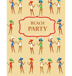 Beach party funny invitation - cartoon vintage vector image