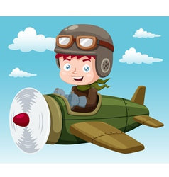Boy on plane vector image