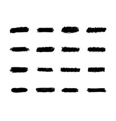 Brush strokes set black hand paint streaks vector