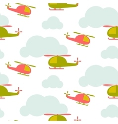 Cartoon helicopter in sky seamless pattern vector image vector image