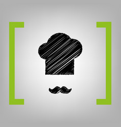 chef hat and moustache sign black vector image vector image