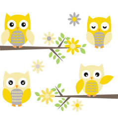Cut owl with branches yellow and grey owl vector