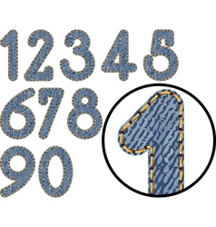 denim numbers vector image