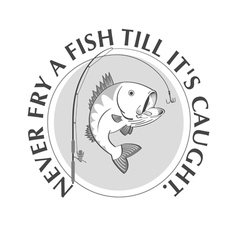 Fishing emblem with proverb vector