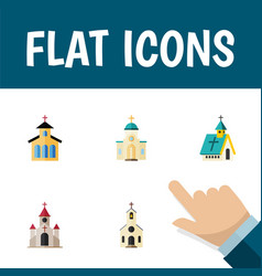 Flat icon building set of traditional building vector