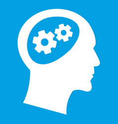 gear in head icon white vector image