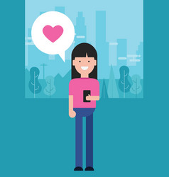 Girl holding phone love shape heart in pink vector