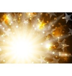 Glowing orange golden background with stars and vector image