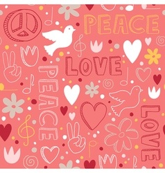 Hand-drawn seamless pattern with symbols of peace vector image
