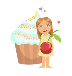happy young girl standing nearby a huge capkake vector image